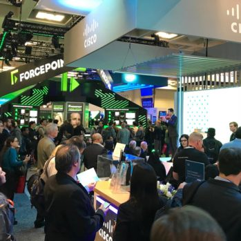 Cisco trade show audience listening to Steve Multer's presentation
