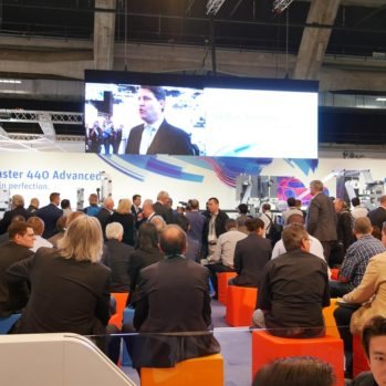 Steve Multer on the Gallus big screen at Labelexpo in Brussels