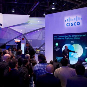 Steve Multer as trade show presenter for Cisco talking about how to generate business value