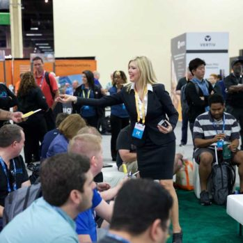 Cisco trade show booth staff welcomes guests and attendees for Steve Multer Corporate Storytelling